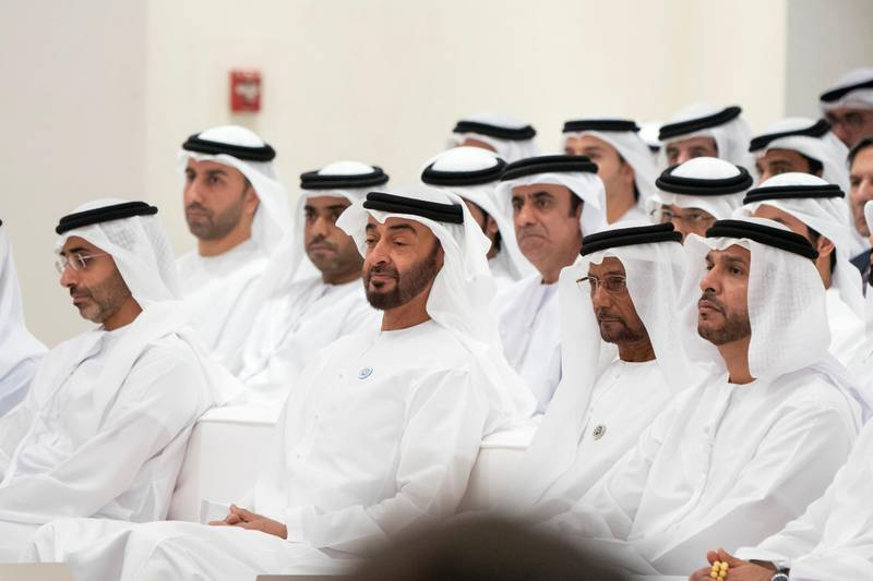 ABU DHABI, UNITED ARAB EMIRATES - May 23, 2018: HH Sheikh Mohamed bin Zayed Al Nahyan, Crown Prince of Abu Dhabi and Deputy Supreme Commander of the UAE Armed Forces (2nd L) attends a lecture by Angela Duckworth (not shown), titled 'True Grit: The Surprising, and Inspiring Science of Success', at Majlis Mohamed bin Zayed. Seen with HH Sheikh Diab bin Zayed Al Nahyan (L), HH Sheikh Fahim bin Sultan Al Qasimi (3rd L) and HH Sheikh Khalifa bin Mohamed bin Khaled Al Nahyan (R).  ( Rashed Al Mansoori / Crown Prince Court - Abu Dhabi ) —