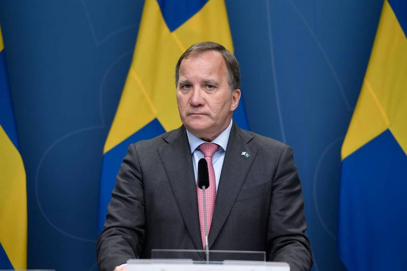 epa09307170 Sweden's Prime minister Stefan Lofven holds a press conference at Rosenbad in Stockholm, Sweden, 28 June 2021. Lofven announced his resignation after on 21 June he lost in the vote of no confidence against his government at the Swedish parliament, called for by the Left Party as a result of difference of opinion over housing market policy.  EPA/STINA STJERNKVIST  SWEDEN OUT