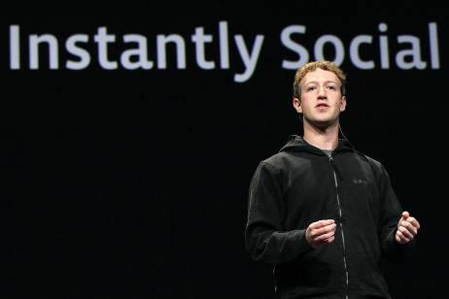 SAN FRANCISCO - APRIL 21: Facebook founder and CEO Mark Zuckerberg delivers the opening keynote address at the f8 Developer Conference April 21, 2010 in San Francisco, California. Zuckerberg kicked off the the one day conference for developers that features breakout sessions on the future of social technologies.   Justin Sullivan/Getty Images/AFP