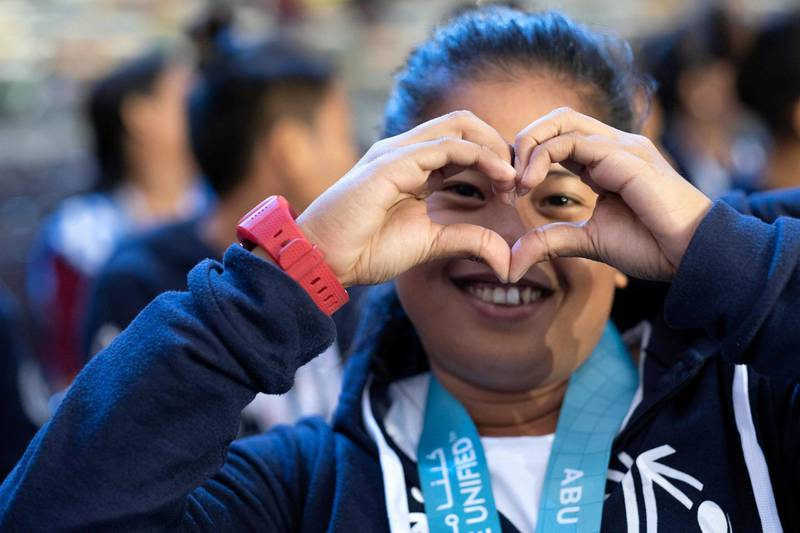 One of the spectators at the closing ceremony. Courtesy Special Olympics World Games Abu Dhabi 2019