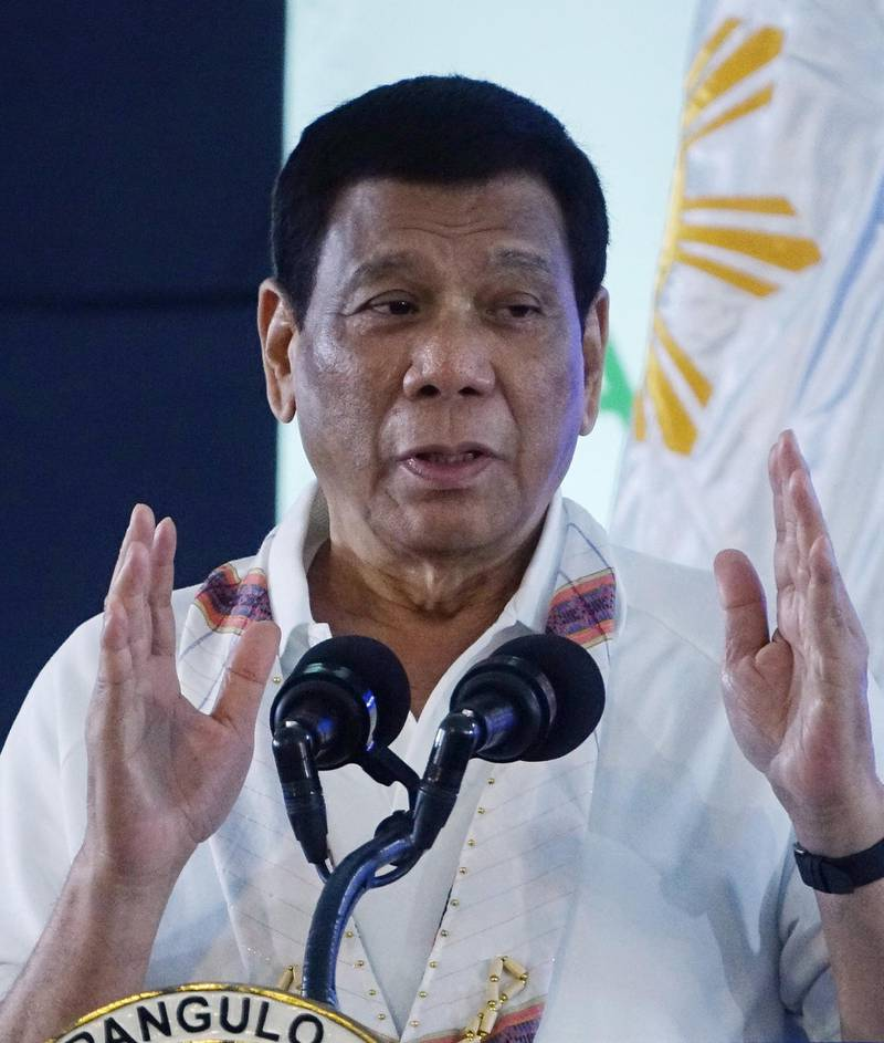 epa07190739 President Rodrigo Duterte speaks during a water supply constraction ceremony in Davao city, Philippines, 26 November 2018. According to Defense Secretary Delfin Lorenzana, President Rodrigo Duterte has ordered to increase government forces in southern Philippines, but it will not lead to a nationwide martial law. Communist Party of the Philippines founder Jose Maria Sison alledged that sending more soldiers to the Mindanao island was a preparation for the formal declaration of the military rule across the country.  EPA/CERILO EBRANO