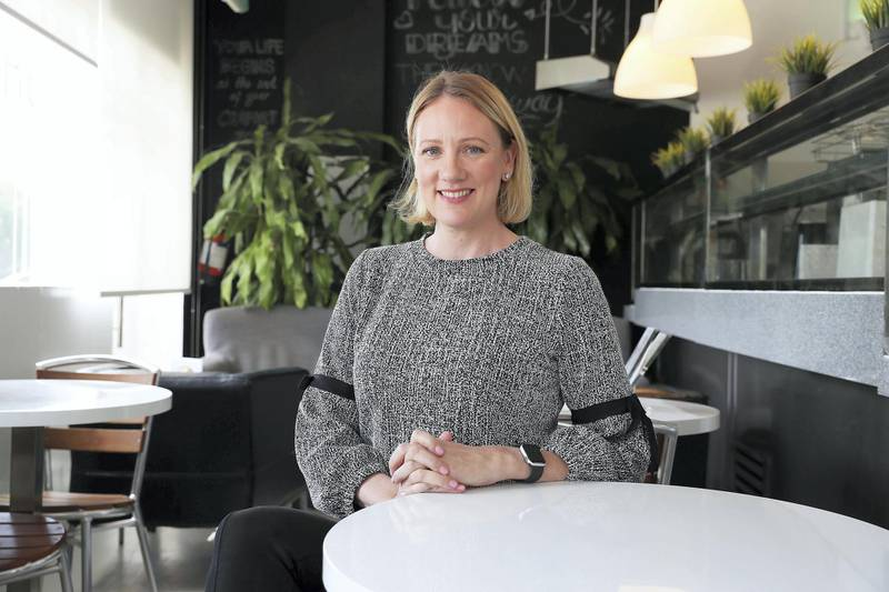 DUBAI, UNITED ARAB EMIRATE, March 01 – 2020 :- Christina Slyper, Founder and Managing Director of Zest healthy eating cafe and delivery service at the Zest café in Al Barsha 3 in Dubai. (Pawan Singh / The National) For Money & Me. Story by David