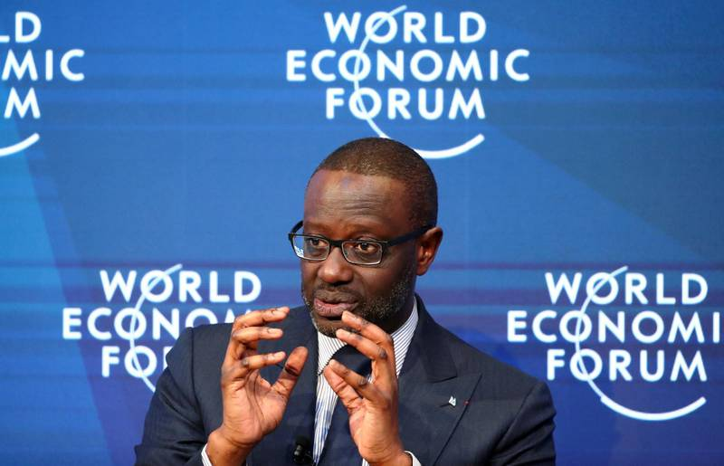 FILE PHOTO: Tidjane Thiam, Chief Executive Officer of Credit Suisse, gestures as he speaks during a session at the 50th World Economic Forum (WEF) annual meeting in Davos, Switzerland, January 22, 2020. REUTERS/Denis Balibouse/File Photo