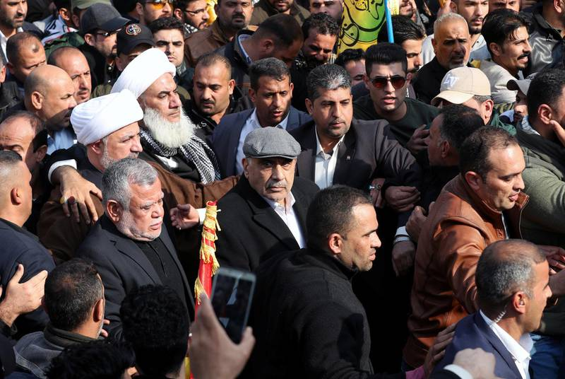 Iraqi Prime Minister Adel Abdul Mahdi attends the funeral of the Iranian Major-General Qassem Soleimani, head of the elite Quds Force of the Revolutionary Guards, and the Iraqi militia commander Abu Mahdi al-Muhandis, who were killed in an air strike at Baghdad airport, in Baghdad, Iraq, January 4, 2020. REUTERS/Thaier al-Sudani