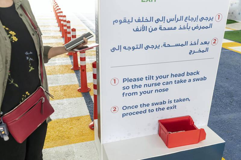 RAS AL KHAIMAH, UNITED ARAB EMIRATES. 12 APRIL 2020. The Ras Ak Khaimah National Screening Center in RAK city that forms part of the drive-through testing centres that opened across the emirates last week. Clear instructions are presented for everyone at each stage pof the test. (Photo: Antonie Robertson/The National) Journalist: Ruba Haza. Section: National.