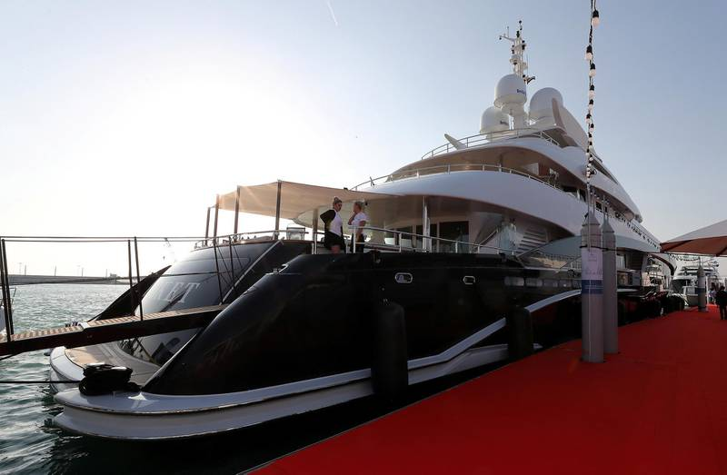 DUBAI , UNITED ARAB EMIRATES , February 26 – 2019 :- Outside view of the Rocket Yacht which is on display at the Dubai International Boat Show held in Dubai. ( Pawan Singh / The National ) For Lifestyle. Story by Sophie