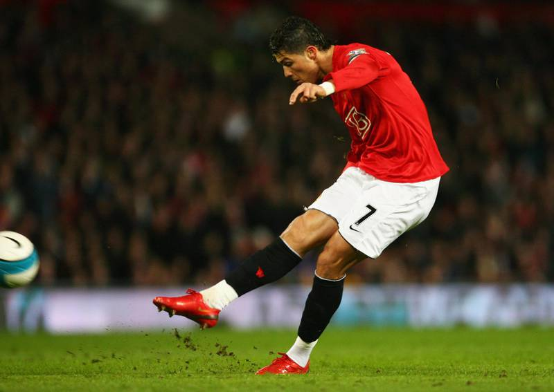MANCHESTER, UNITED KINGDOM - MARCH 19:  Cristiano Ronaldo of Manchester United scores their second goal from a free kick during the Barclays Premier League match between Manchester United and Bolton Wanderers at Old Trafford on March 19, 2008 in Manchester, England.  (Photo by Alex Livesey/Getty Images)
