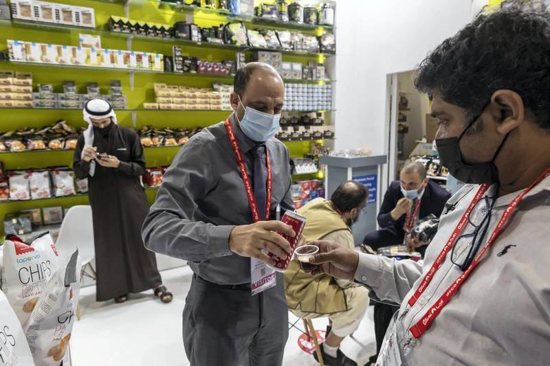 DUBAI, UNITED ARAB EMIRATES. 21 FEBRUARY 2021. Gulf Food Exhibition at the Dubai World Trade Center during the Covid-19 Pandemic. (Photo: Antonie Robertson/The National) Journalist: Georgia Tolley. Section: National.