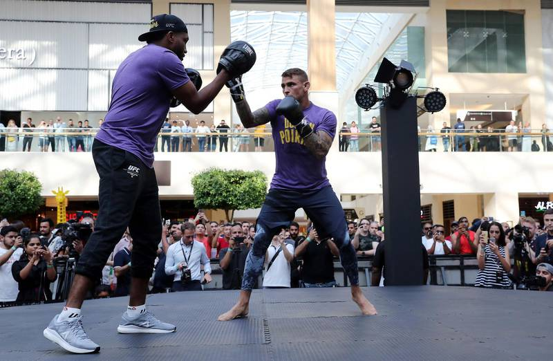 ABU DHABI ,  UNITED ARAB EMIRATES , SEPTEMBER 4 – 2019 :- Dustin Poirier during the UFC Open Workout session held at The Yas Mall in Abu Dhabi. ( Pawan Singh / The National ) For Sports/Online/Instagram. Story by John