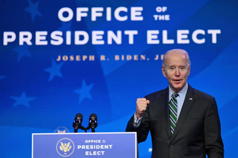US President-elect Joe Biden introduces nominees for his science team on January 16, 2021, at The Queen theater in Wilmington, Delaware. Biden is nominating Francis Collins to continue as Director of the National Institutes of Health, Eric Lander as Director of the Office of Science and Technology Policy (OSTP), Alondra Nelson as Deputy Director of OSTP, Narda Jones as Legislative Affairs Director of OSTP, Kei Koizumi as Chief of Staff of the OSTP, Frances Arnold as Co-Chair of the President's Council of Advisors on Science and Technology (PCAST), and Maria Zuber as Co-Chair of PCAST. / AFP / ANGELA WEISS