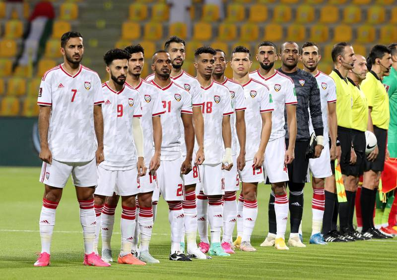 The UAE team before the game between the UAE and Vietnam in the World cup qualifiers at the Zabeel Stadium, Dubai on June 15th, 2021. Chris Whiteoak / The National.  Reporter: John McAuley for Sport
