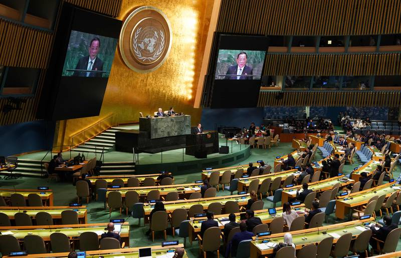 North Korean Foreign Minister Ri Yong-ho addresses the 73rd United Nations General Assembly on September 29, 2018, at the United Nations in New York.  / AFP / Don EMMERT