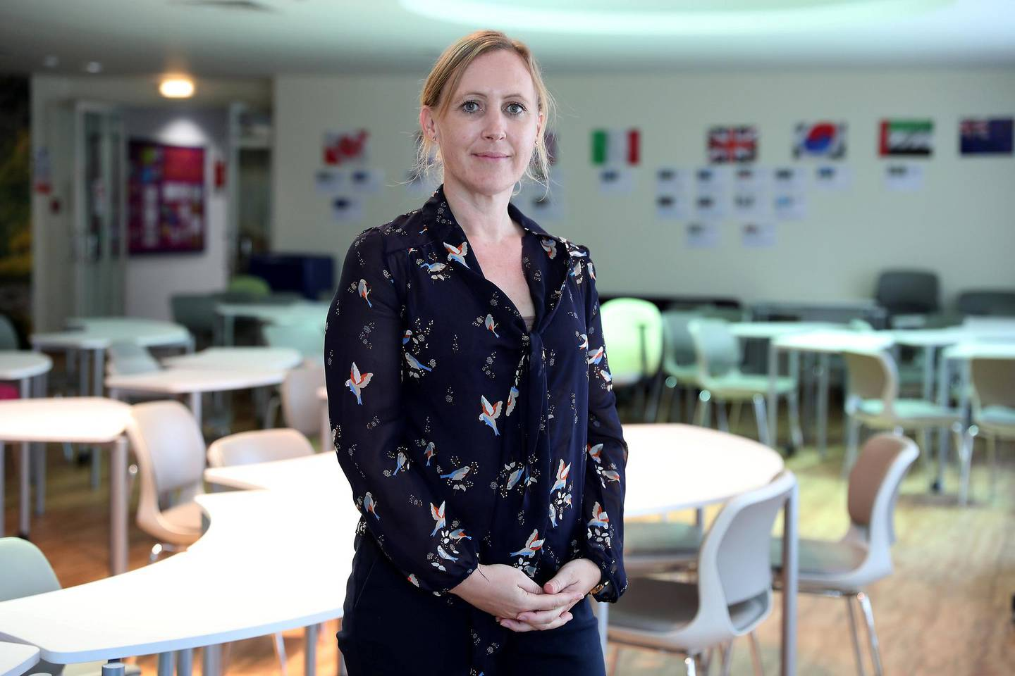 DUBAI, UNITED ARAB EMIRATES , October 30  – 2019 :- Eleanor Astrup, Business and Economics teacher at the Investars programme by Zurich held at Gems Wellington International School on Sheikh Zayed road in Dubai. ( Pawan Singh / The National )  For Business. Story by Nada
