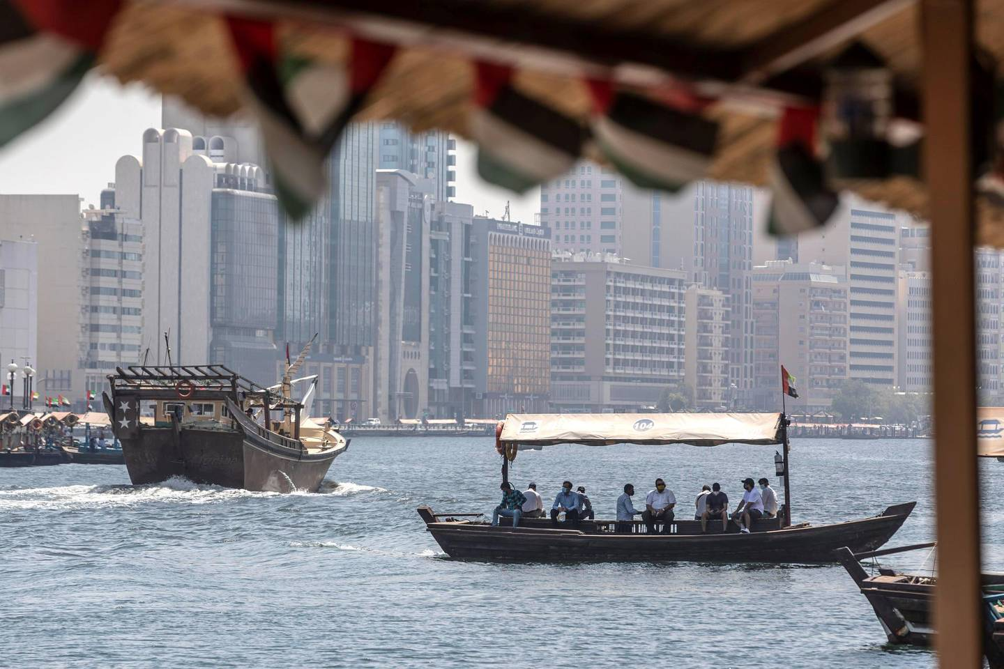 DUBAI, UNITED ARAB EMIRATES. 15 JUNE 2020. STANDALONE. Bur Dubai life during COVID-19.  ABRA or water taxi services resume with a reduction in passengers. (Photo: Antonie Robertson/The National) Journalist: None. Section: National.