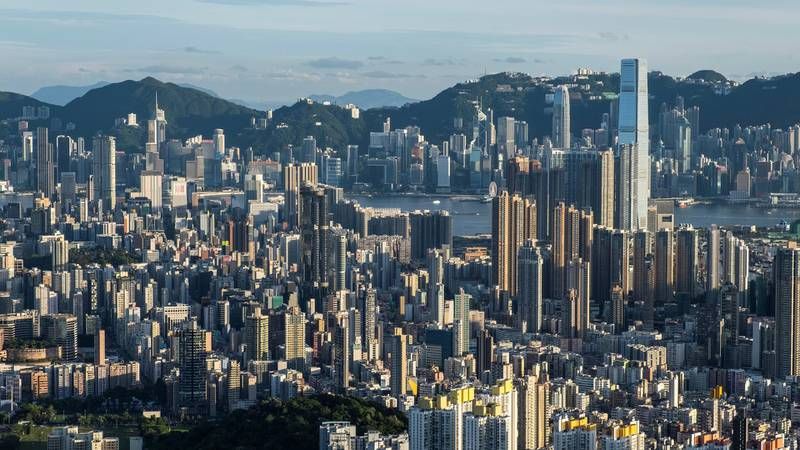HONG KONG, CHINA - 2020/06/29: A general view of the skyline and buildings from the Beacon Hill in Hong Kong. (Photo by Chan Long Hei/SOPA Images/LightRocket via Getty Images)