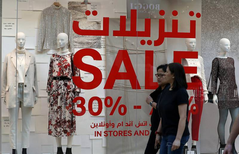DUBAI, UNITED ARAB EMIRATES, Dec 26 – 2019 :- All the stores put up sale signs on the first day of Dubai Shopping Festival at Dubai Festival City Mall in Dubai. ( Pawan Singh / The National ) For News/Standalone