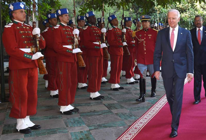 US Vice President Joe Biden arrives for a meeting with Morocco's King Mohammed VI at the royal palace in Fez on November 19, 2014. Biden is attending the Global Entrepreneurship Summit in Morocco, taking place for the first time on the African continent. AFP PHOTO/ FADEL SENNA (Photo by FADEL SENNA / POOL / AFP)
