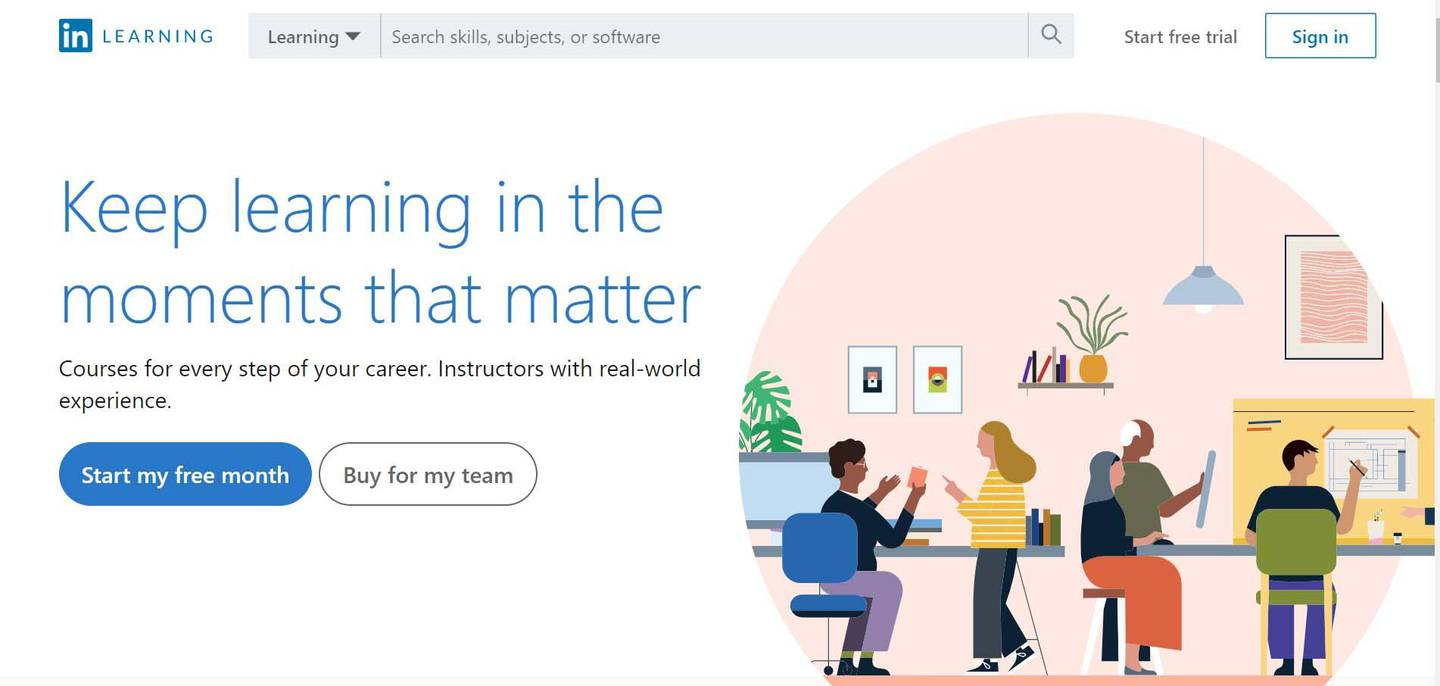 A screenshot of the website of LinkedIn Learning.