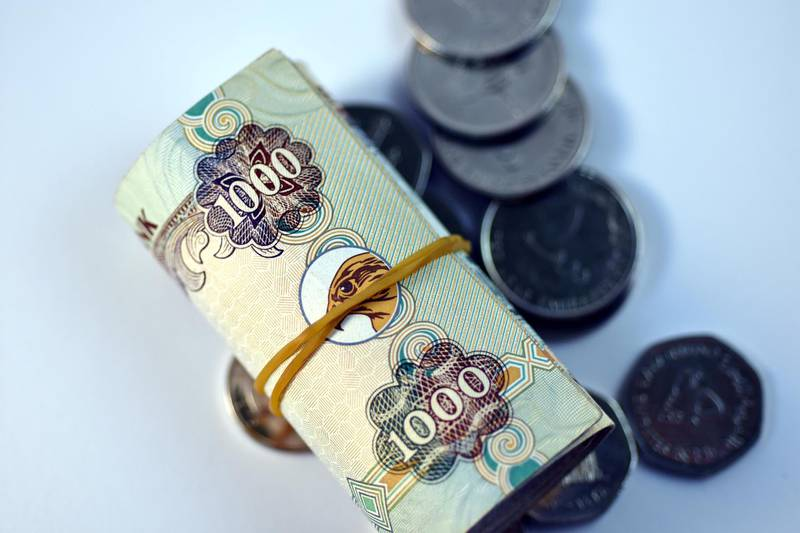 FX0Y3D Close up different Dirhams currency note and coins, United Arab Emirates