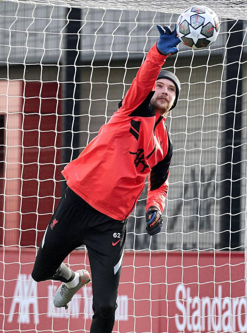 KIRKBY, ENGLAND - FEBRUARY 15: (THE SUN OUT, THE SUN ON SUNDAY OUT) Caoimhin Kelleher of Liverpool during a training session at AXA Training Centre on February 15, 2021 in Kirkby, England. (Photo by Nick Taylor/Liverpool FC/Liverpool FC via Getty Images)