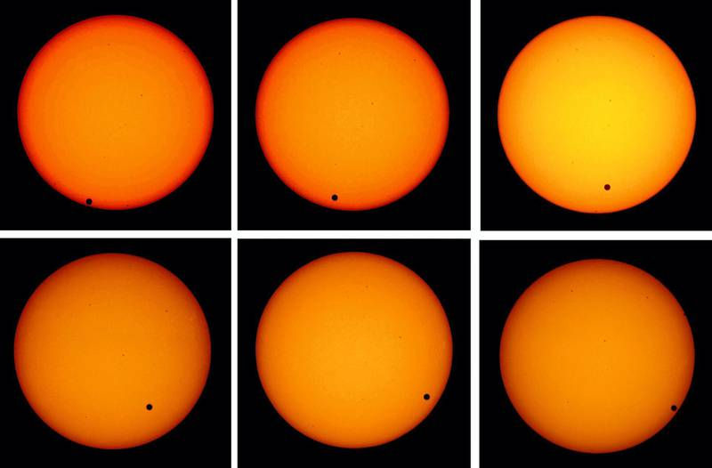 LONDON - JUNE 8: A combination picture shows the planet Venus as it transits across the face of the sun as seen from the Greenwich Observatory on June 8, 2004 in London. The rare astronomical event last occurred in 1882, while the next transit is due in 2012.  (Photo by Ian Waldie/Getty Images)  *** Local Caption ***