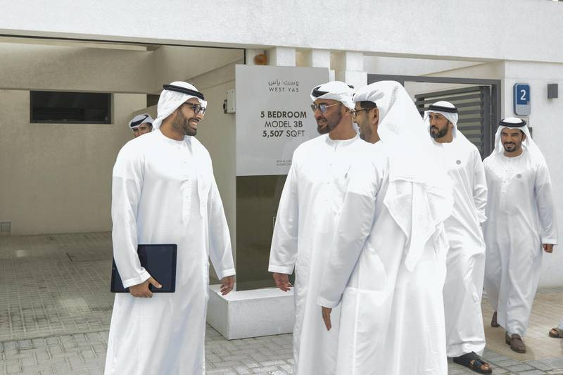 YAS ISLAND, ABU DHABI, UNITED ARAB EMIRATES -March 01, 2018: HH Sheikh Mohamed bin Zayed Al Nahyan, Crown Prince of Abu Dhabi and Deputy Supreme Commander of the UAE Armed Forces (2nd L), inspects urban development and tourism projects, at West Yas. Seen with HE Mohamed Khalifa Al Mubarak, Chairman of the Department of Culture and Tourism and Abu Dhabi Executive Council Member (L) and HE Mohamed Mubarak Al Mazrouei, Undersecretary of the Crown Prince Court of Abu Dhabi (3rd R).  ( Hamad Al Mansouri for Crown Prince Court - Abu Dhabi )  ---