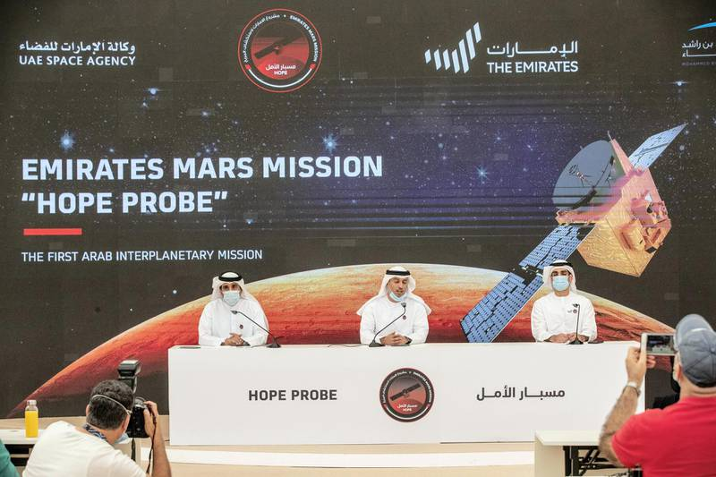 DUBAI, UNITED ARAB EMIRATES. 20 JULY 2020. Post launch briefing of the Hope Probe to Mars at the Mohammed Bin Rashid Space Center. LtoR: Hamad Obaid Al Mansouri, the Chairman of the Mohammed bin Rashid Space Centre (MBRSC), H.E. Dr. Ahmad Belhoul Al Falasi, Minister of State for Entrepreneurship and Small and Medium Enterprises and Omran Sharaf, Project Manager of Emirates Mars Mission, Hope Probe (Photo: Antonie Robertson/The National) Journalist: Sarwat. Section: National.