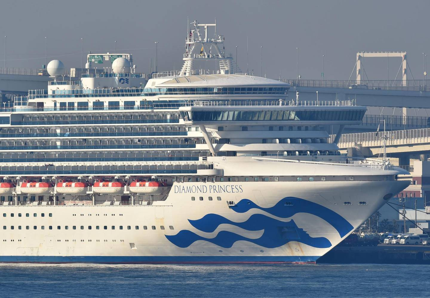 The Diamond Princess cruise ship is seen anchored at the Daikoku Pier Cruise Terminal in Yokohama port on February 13, 2020. At least 218 people on board a cruise ship quarantined off Japan have tested positive for the novel COVID-19 coronavirus, authorities said February 13 as they announced plans to move some elderly passengers off the ship. / AFP / Kazuhiro NOGI