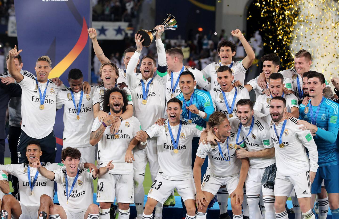 Abu Dhabi, United Arab Emirates - December 22, 2018: Real Madrid celebrate winning the cup after the match between Real Madrid and Al Ain at the Fifa Club World Cup final. Saturday the 22nd of December 2018 at the Zayed Sports City Stadium, Abu Dhabi. Chris Whiteoak / The National