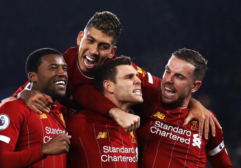 File photo dated 26-12-2019 of Liverpool's James Milner (centre) celebrates scoring his side's second goal of the game against Leicester City from the penalty spot with team-mates during the Premier League match at the King Power Stadium, Leicester. PA Photo. Issue date: (enter date here). Billed as genuine test for Klopp's side on their return from Qatar as Club World Cup champions second-placed Leicester were blown away. See PA story SOCCER Liverpool Key Games. Photo credit should read Tim Goode/PA Wire.