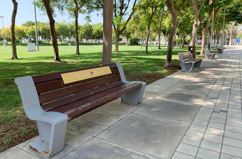 DUBAI, UNITED ARAB EMIRATES , October 10 – 2020 :- No sitting stickers pasted on the benches at the Zabeel park in Dubai. Stickers about Covid safety measures pasted all over the park for the visitors. (Pawan Singh / The National) For News/Stock/Online.