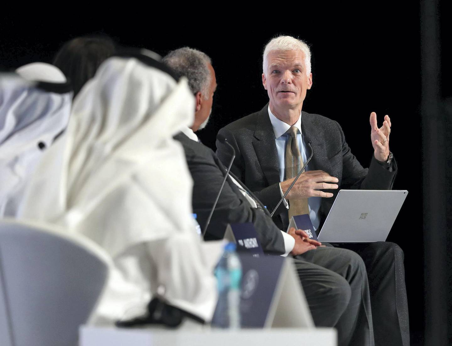 Abu Dhabi, United Arab Emirates - October 06, 2019: Andreas Schleicher, Director, Directorate of Education and Skills, OECD, France speaks in the opening plenary Teaching for Global Competence. Qudwa is a forum for teachers, by teachers that aims to elevate the teaching profession in the UAE. Sunday the 6th of October 2019. Manarat Al Saadiyat, Abu Dhabi. Chris Whiteoak / The National