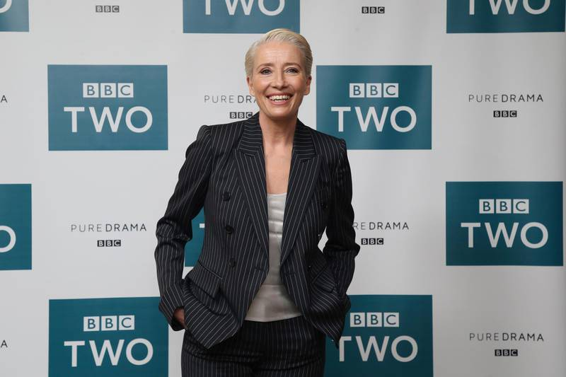 """FILE - In this March 28, 2018 file photo, Emma Thompson appears at a screening of """"King Lear"""" in central London. In a letter to Skydance Media, Thompson outlined why she was withdrawing from the animated film """"Luck"""" and refused to work with the former Pixar executive John Lasseter. (Photo by Joel C Ryan/Invision/AP, File)"""