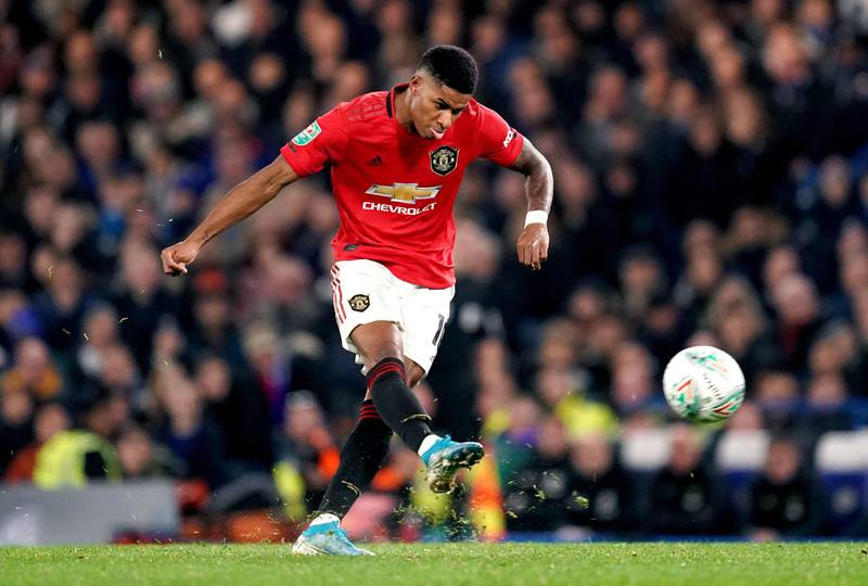 """Manchester United's Marcus Rashford scores his side's second goal of the game with a free kick during the Carabao Cup, Fourth Round match at Stamford Bridge, London. PA Photo. Picture date: Wednesday October 30, 2019. See PA story SOCCER Chelsea. Photo credit should read: John Walton/PA Wire. RESTRICTIONS: EDITORIAL USE ONLY No use with unauthorised audio, video, data, fixture lists, club/league logos or """"live"""" services. Online in-match use limited to 120 images, no video emulation. No use in betting, games or single club/league/player publications."""