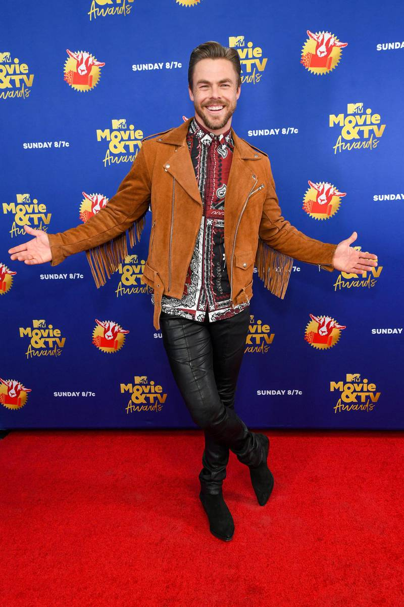 UNSPECIFIED - DECEMBER 6: In this image released on December 6, Derek Hough attends the 2020 MTV Movie & TV Awards: Greatest Of All Time broadcast on December 6, 2020. (Photo by Kevin Mazur/2020 MTV Movie & TV Awards/Getty Images for MTV Communications) (Photo by Kevin Mazur/2020 MTV Movie & TV Awards/Getty Images)