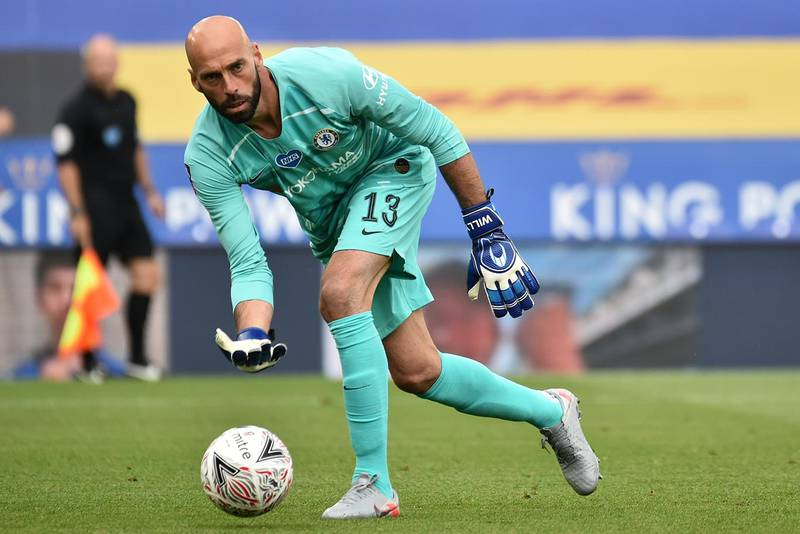 Chelsea's Argentinian goalkeeper Willy Caballero rolls the ball out during the English FA Cup quarter-final football match between Leicester City and Chelsea at King Power Stadium in Leicester, central England on June 28, 2020. (Photo by RUI VIEIRA / POOL / AFP) / RESTRICTED TO EDITORIAL USE. No use with unauthorized audio, video, data, fixture lists, club/league logos or 'live' services. Online in-match use limited to 120 images. An additional 40 images may be used in extra time. No video emulation. Social media in-match use limited to 120 images. An additional 40 images may be used in extra time. No use in betting publications, games or single club/league/player publications. /
