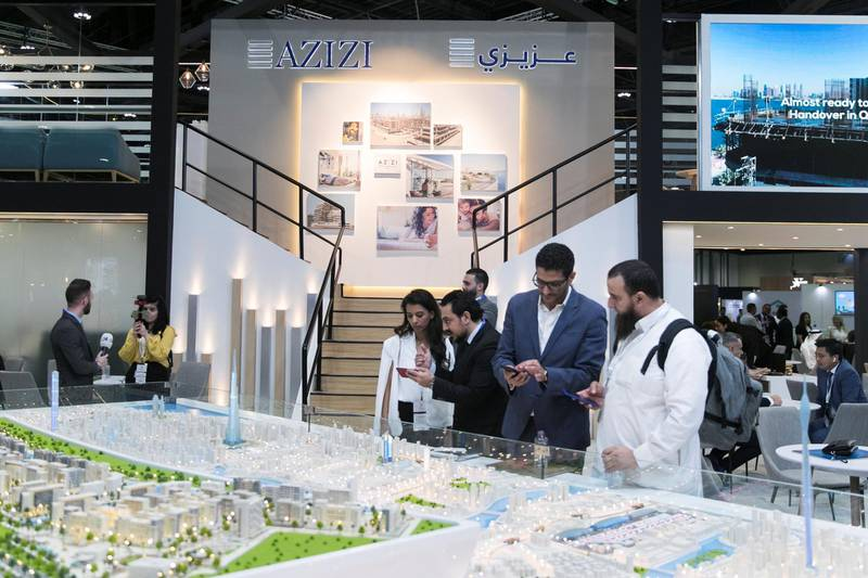 ABU DHABI, UNITED ARAB EMIRATES - April 16 2019.  Riviera by Azizi at Cityscape Abu Dhabi 2019.  (Photo by Reem Mohammed/The National)  Reporter: Sarmad Khan Section: NA + BZ