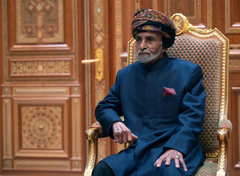 Sultan of Oman Qaboos bin Said al-Said sits during a meeting with the US secretary of state at the Beit Al Baraka Royal Palace in Muscat on January 14, 2019. (Photo by ANDREW CABALLERO-REYNOLDS / POOL / AFP)