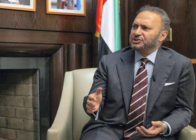 His Excellency Minster of State for Foreign Affairs for the United Arab Emirates Dr. Anwar Gargash, at the Permanent Mission Of The United Arab Emirates To The United Nations in New York on Sunday, September 23, 2018. Bill Kotsatos for The National