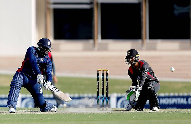 Dubai, March, 16, 2019: Steven Taylor of USA in action against UAE during the T20 match at the ICC Academy in Dubai. Satish Kumar/ For the National / Story by Paul Radley