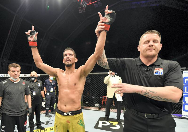 ABU DHABI, UNITED ARAB EMIRATES - JULY 12: Leonardo Santos of Brazil reacts after his decision victory over Roman Bogatov in their lightweight fight during the UFC 251 event at Flash Forum on UFC Fight Island on July 12, 2020 on Yas Island, Abu Dhabi, United Arab Emirates. (Photo by Jeff Bottari/Zuffa LLC)