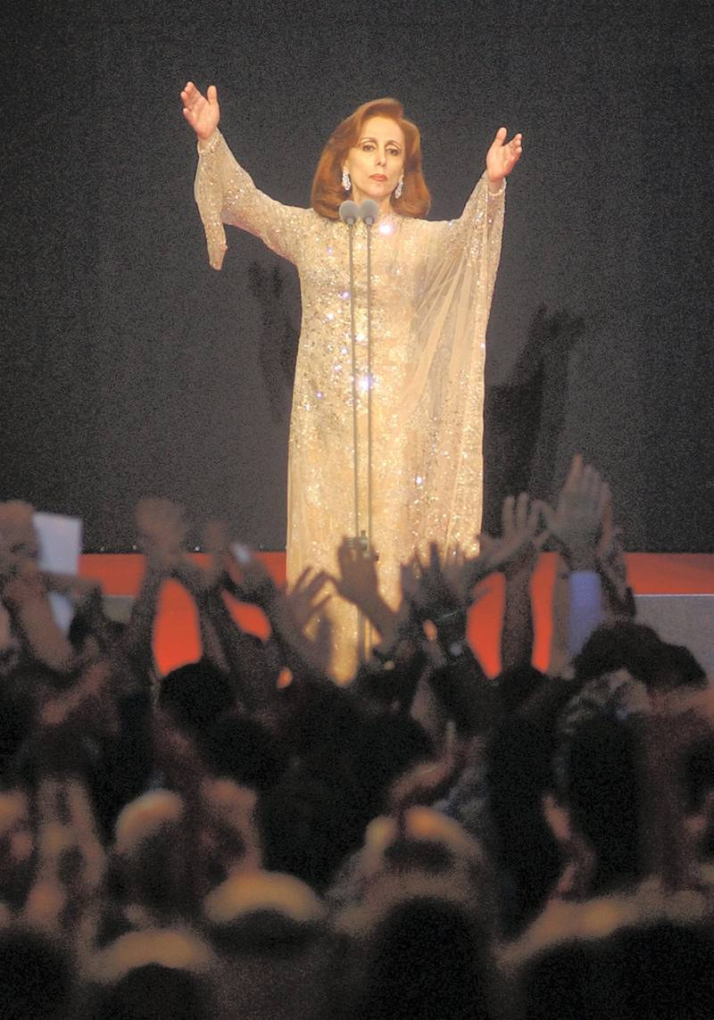Lebanese diva Fairuz draws a roar of applause and approval from apacked audience of 5,000 people as she sang her best old songs forPalestine and Beirut August 9, 2002. With her concert, Fairuz willconclude on Saturday the Arts festival of Beiteddine. REUTERS/MohamedAzakirMA/CLH/ - RP3DRICHPPAA