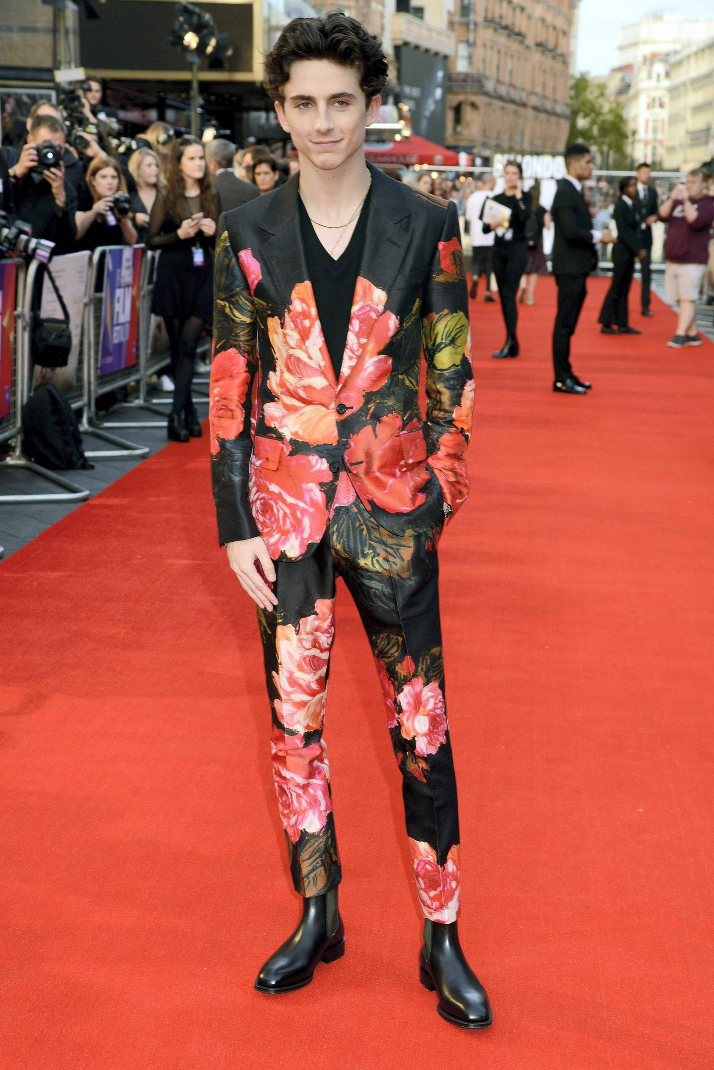 """LONDON, ENGLAND - OCTOBER 13:  Timothee Chalamet attends the UK Premiere of """"Beautiful Boy"""" & Headline gala during the 62nd BFI London Film Festival on October 13, 2018 in London, England.  (Photo by Dave J Hogan/Dave J Hogan/Getty Images)"""