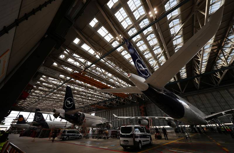 Airplanes of the German air carrier Lufthansa are seen inside a hangar for technical check-up to ensure planes keep up their safety standards despite being grounded for a month due to the outbreak of the coronavirus disease (COVID-19) in Frankfurt, Germany, July 30, 2020. REUTERS/Kai Pfaffenbach
