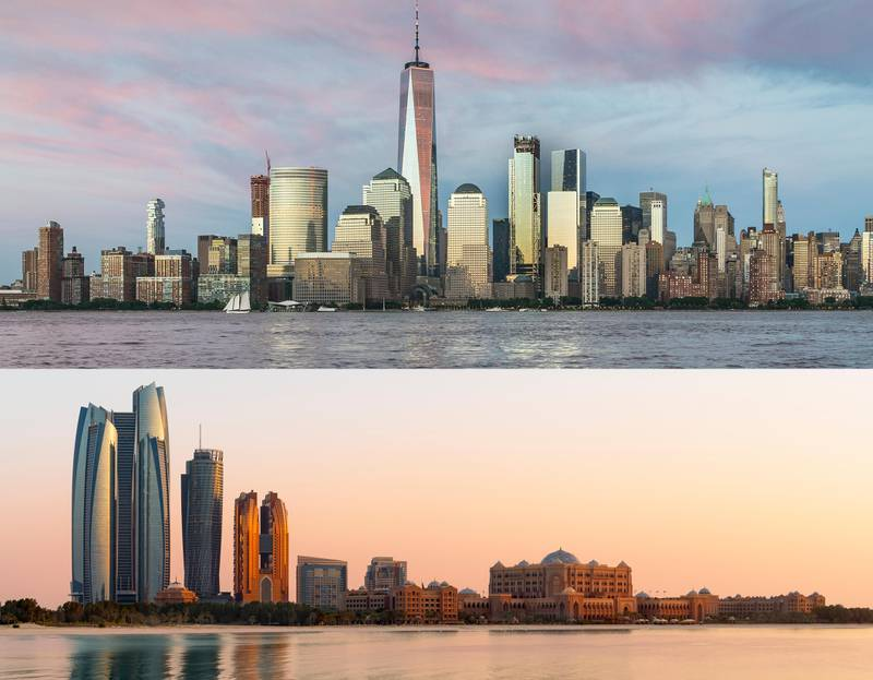 TOP: There are many skyscrapers in Lower Manhattan dating back to the 1920's and 1930's when it was concentrated with financial institutions. These older towers seem small in comparison to One World Trade Center and other modern skyscrapers at World Trade Center and Brookfield Place. This view is from Exchange Place in Jersey City, New Jersey across the Hudson River.BOTTOM: Abu Dhabi skyline from the Breakwater at dusk.Getty Images