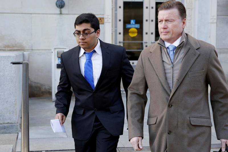 Former Rutgers University student Paras Jha is seen as he leaves the Clarkson S. Fisher Building and U.S. Courthouse after his hearing in Trenton, New Jersey, U.S., December 13, 2017. REUTERS/Dominick Reuter - RC11344ADAB0