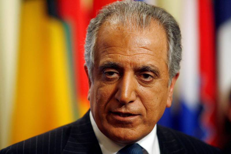 FILE PHOTO: U.S. Ambassador to the United Nations Zalmay Khalilzad speaks to the media after a meeting of the U.N. Security Council to discuss the conflict between Russian and Georgia at United Nations headquarters in New York August 11, 2008.    REUTERS/Keith Bedford/File Photo