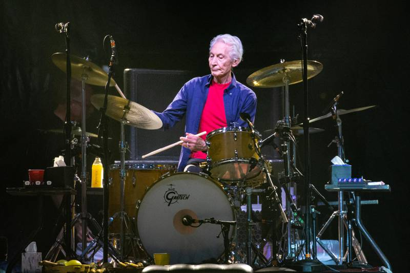 """The Rolling Stones drummer Charlie Watts performs on stage during their """"No Filter"""" tour at NRG Stadium on July 27, 2019 in Houston, Texas. (Photo by SUZANNE CORDEIRO / AFP)"""