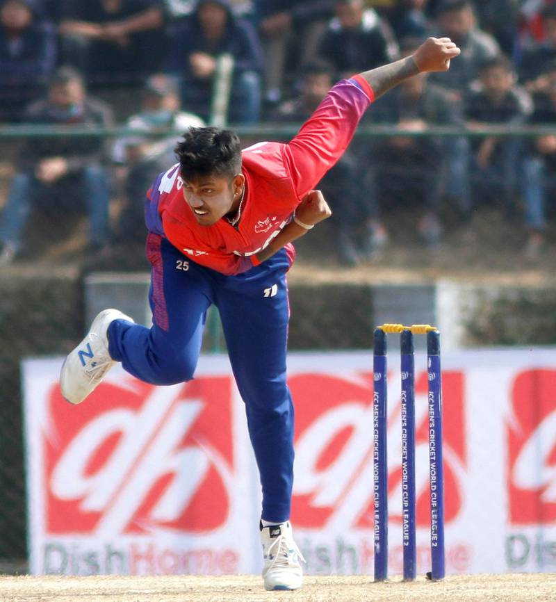 Sandeep Lamichhane of Nepal bowls during the ICC Cricket World Cup League 2 match between Oman and Nepal at TU Cricket Stadium on 9 Feb 2020 in Nepal