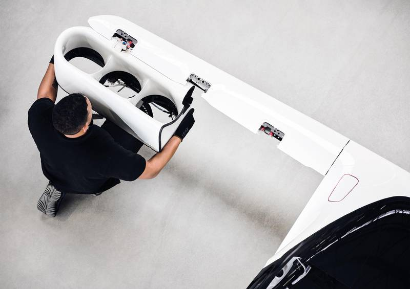 An engineer working on the flaps of Lilium jet. Courtesy Lilium GmbH